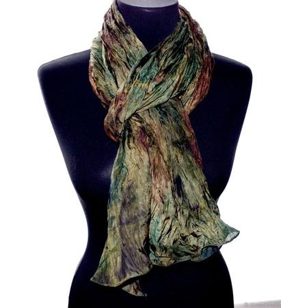 Шелковый шарф зелено коричневый,подарок женщине ручной работы на заказ
