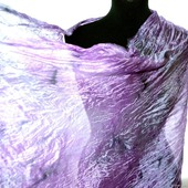 Шарф сиренево серый натуральный шёлк