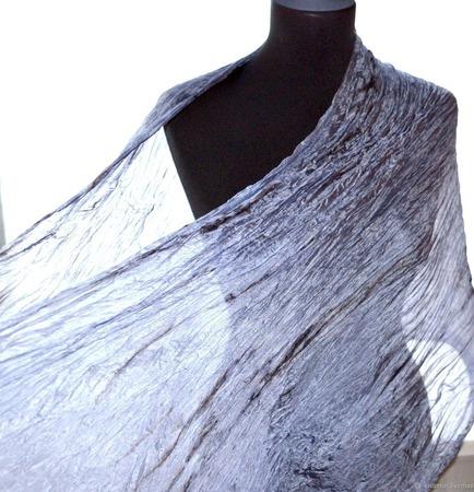 Шарф оттенки серого шелковый шарф палантин натуральный шёлк ручной работы на заказ