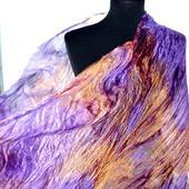 Шарф женский шелковый сиренево оранжевый шарф длинный