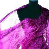 Шелковый шарф фиолетово розовая фуксия натуральный шелк эксельсиор