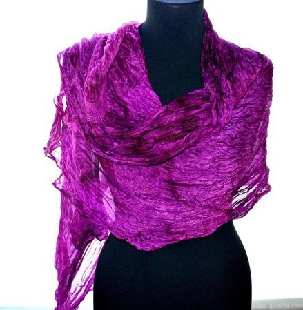 Шелковый шарф фиолетово розовая фуксия натуральный шелк эксельсиор ручной работы на заказ