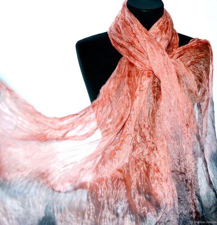 Шарф палантин розовый фламинго ручной работы на заказ