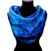 Синий платок пейсли восточный огурец  женский шейный шелковый жаккард