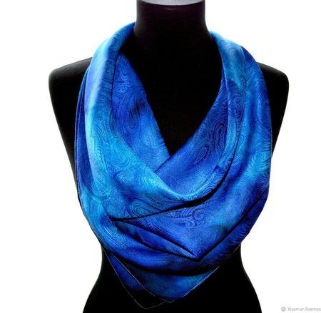 Синий платок пейсли восточный огурец  женский шейный шелковый жаккард ручной работы на заказ