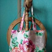 Хлопковая авоська с кружевом в розовых розах «А лето все же наступит!»