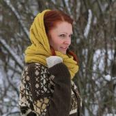 Чистошерстяной шарф-снуд. Шарф-труба для весны или осени.