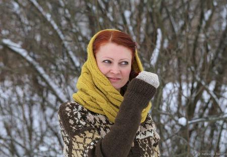 Чистошерстяной шарф-снуд. Шарф-труба для весны или осени. ручной работы на заказ