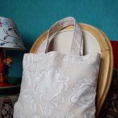 Текстильная сумочка-авоська для покупок в бежевом цвете. Экосумка.