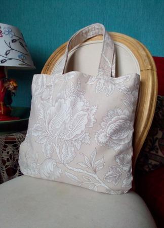 Текстильная сумочка-авоська для покупок в бежевом цвете. Экосумка. ручной работы на заказ