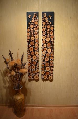 Панно из спилов дерева twix ручной работы на заказ