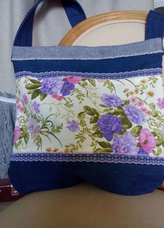 Удобная, текстильная авоська из винтажной джинсы «Почтальон». Экосумка ручной работы на заказ