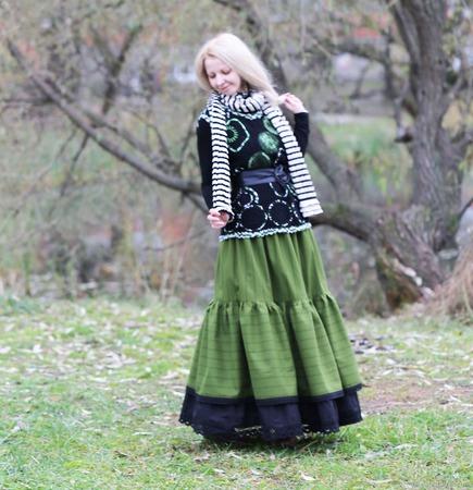 Юбка-бохо полушерстяная для осени или зимы. Теплая юбка. ручной работы на заказ