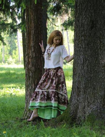 Льняная бохо юбка ручной работы на заказ