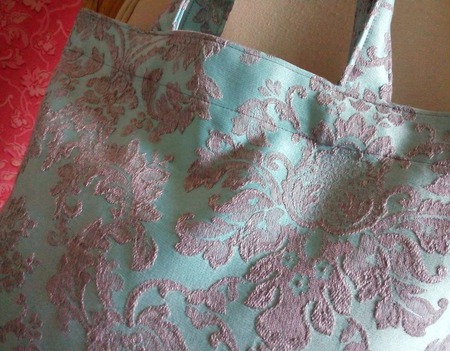 Текстильная мини-авоська «Голубая классика» ручной работы на заказ