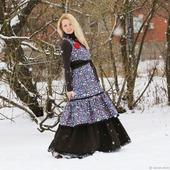 Джинсовое платье-сарафан с подъюбником. Бохо платье.
