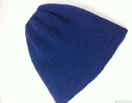 Шапка Бини шерсть с шелком Перу ручной работы на заказ
