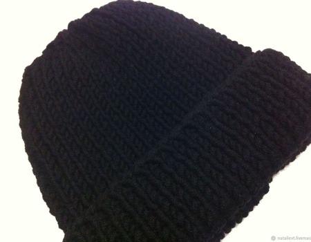 Шапка из Итальянской пряжи черная ручной работы на заказ