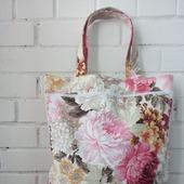 Авоська-мешок с огромными цветами для любительниц Прованса. Экосумка.