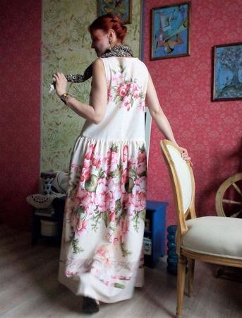 Хлопковое платье в стиле бохо «Прогулки у моря» ручной работы на заказ