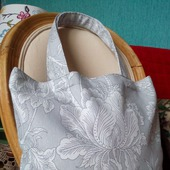 Текстильная экосумка для покупок в сером цвете. Авоська из ткани.
