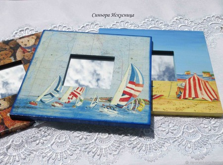 Зеркало Парус Море. Декупаж ручной работы на заказ