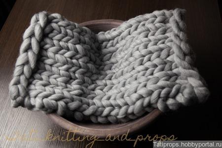 Серый коврик для фотосессии малышей ручной работы на заказ
