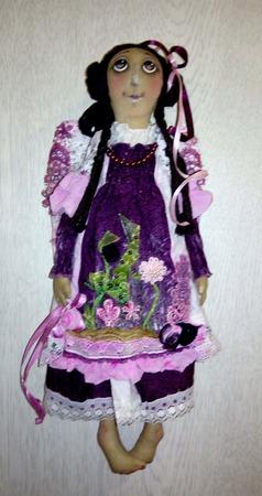"""Интерьерная текстильная кукла-ангел """"Сиреневое лето"""" ручной работы на заказ"""