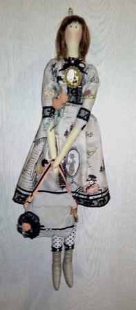 """Интерьерная текстильная кукла-тильда """"Парижанка"""" ручной работы на заказ"""