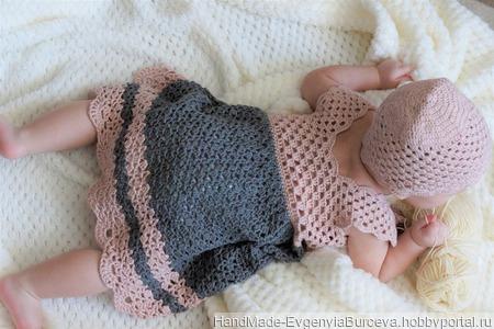Вязаный летний комплект для новорожденного ручной работы на заказ