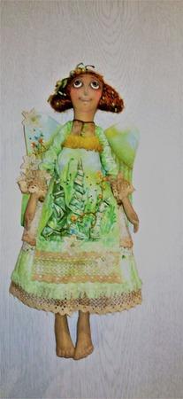 """Интерьерная текстильная славянская кукла-ангел """"Зеленое лето"""" ручной работы на заказ"""