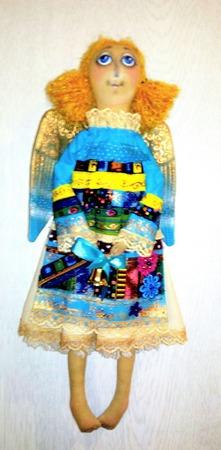 "Интерьерная текстильная кукла-ангел ""Лоскуток"" ручной работы на заказ"