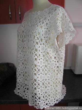 Белая блузка в стиле бохо ручной работы на заказ