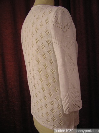 Белая кофточка из хлопка ручной работы на заказ
