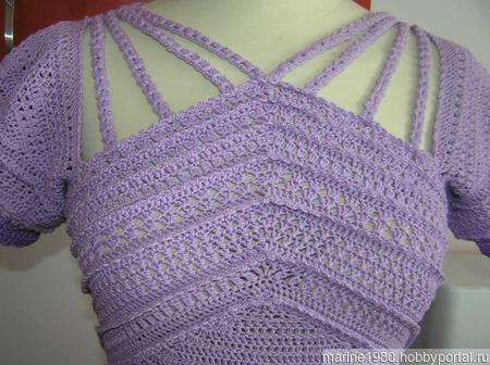 Летнее платье крючком цвета сирени ручной работы на заказ