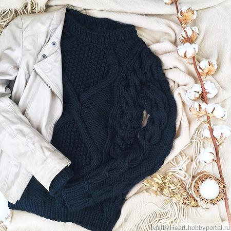"""Модный вязаный свитер """"Wave"""" крупной вязки ручной работы на заказ"""