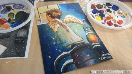 """Картина, акрил """"Рождественский Ангел"""" ручной работы на заказ"""