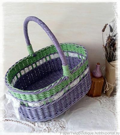 Корзина плетеная Лавандовая ручной работы на заказ