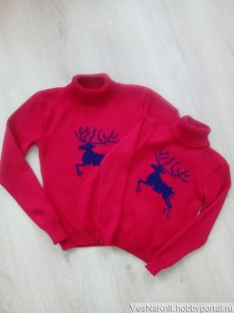 Женский и детский свитер  Family Look ручной работы на заказ