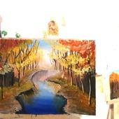 """Картина """"Осенний пейзаж"""", гуашь"""
