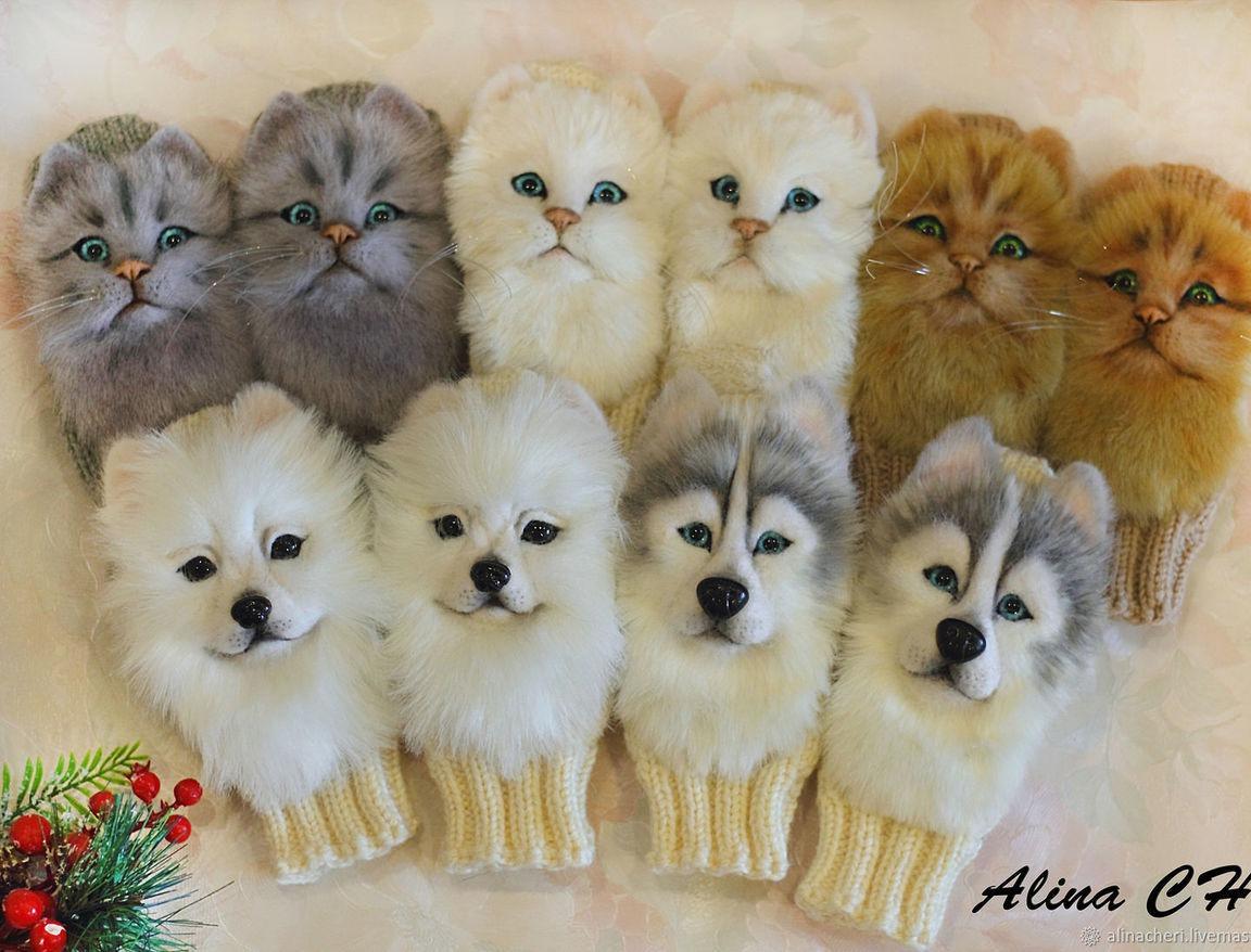 детские вязаные варежки с декором котят и собачек купить в