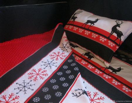 Комплект детского постельного белья Новогодний ручной работы на заказ