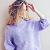 Модный вязаный свитер из кид мохера