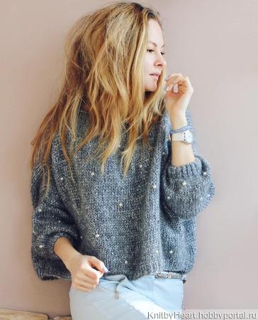 Модный вязаный свитер из кид мохера с бусинами ручной работы на заказ