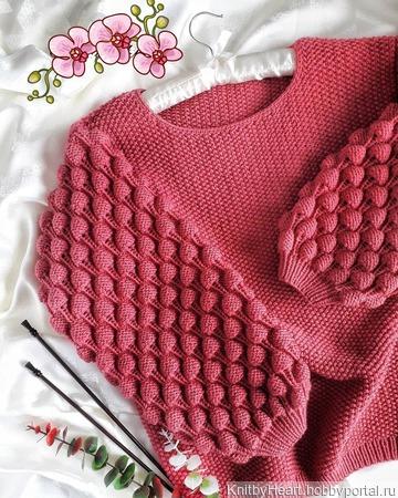 Модный вязаный свитер Малинки ручной работы ручной работы на заказ