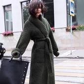 Длинный вязаный кардиган - пальто ручной работы
