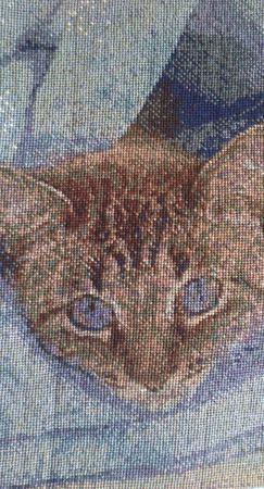 """Вышитая картина """"Барсик в одеялке"""" ручной работы на заказ"""