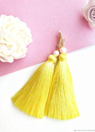 Серьги кисти «Лимонное суфле» ручной работы на заказ