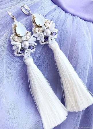 Серьги кисти «Белая лебедь» ручной работы на заказ