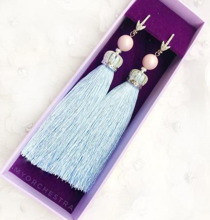 Серьги-кисти «Праздничная нежность» ручной работы на заказ